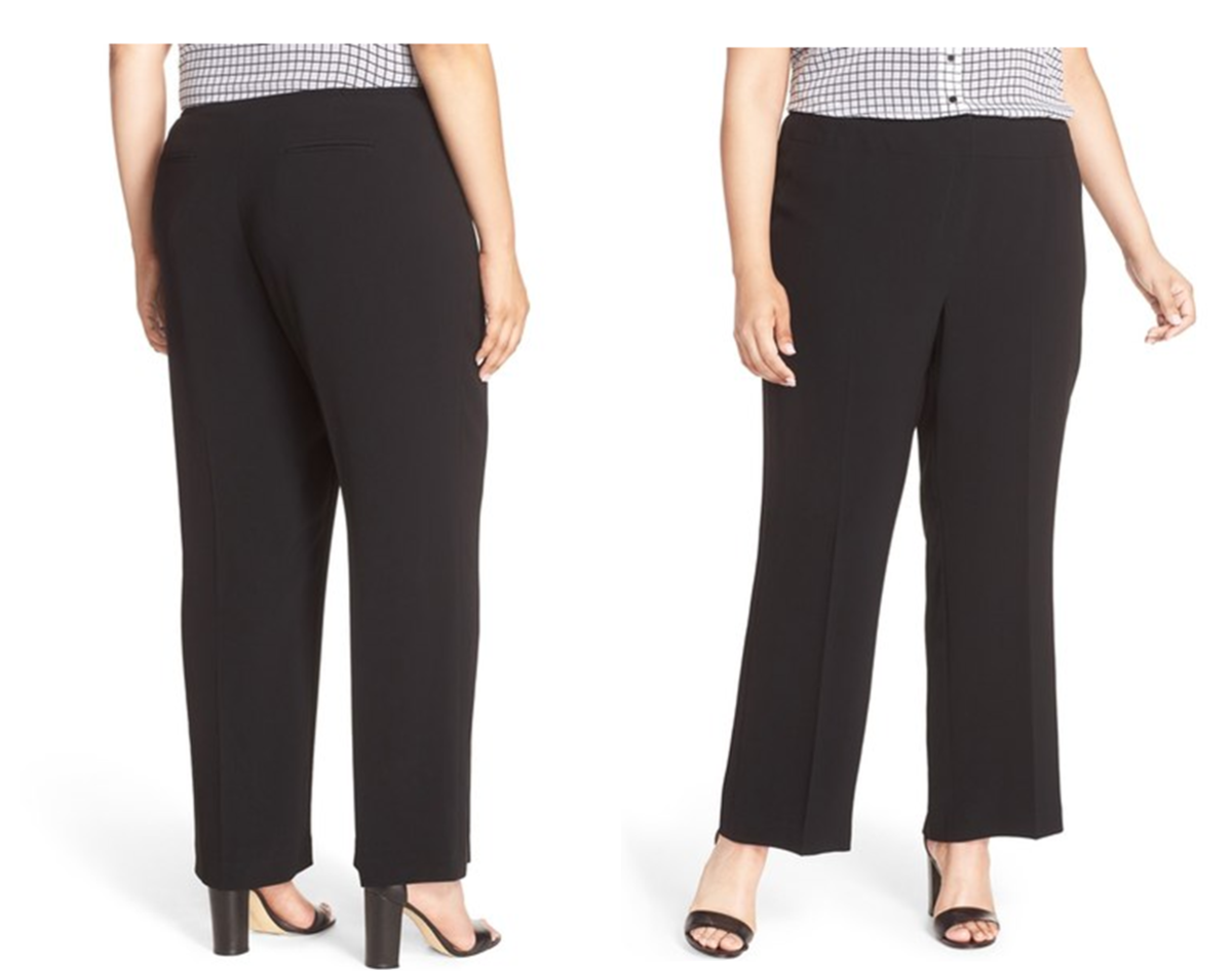classic straight-leg cut pants tailored for a smooth, clean fit in seasonless crepe, elastic insets discreetly hidden at the side waist , zip fly with hook-and-bar closure, back welt pockets