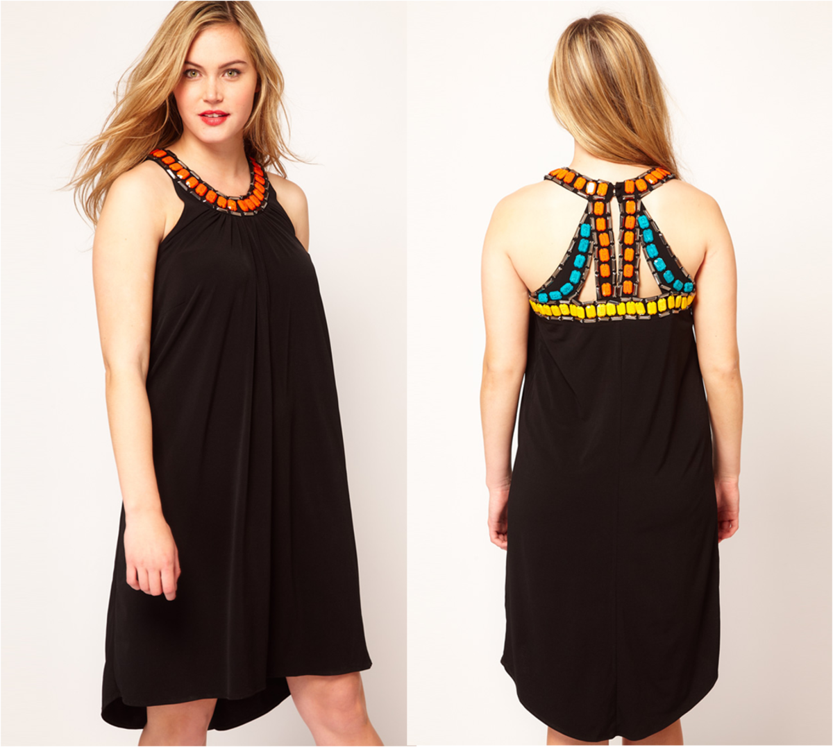 relaxed jersey sleeveless swing dress, scoop neckline with beaded embellishment, cutout back with an embellished beaded trim and a dipped reverse hem