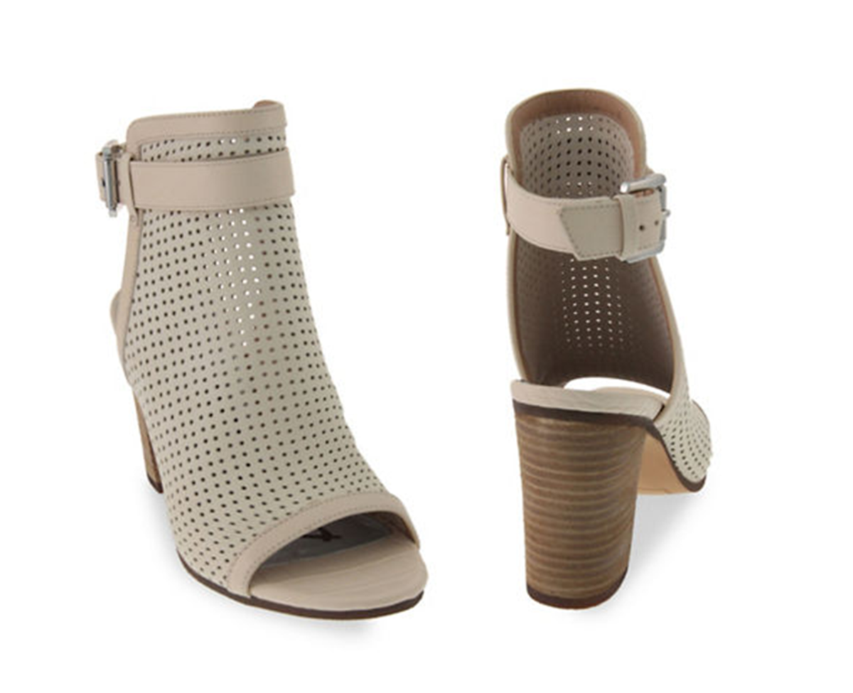 perforated leather open toe booties, 2.5 inch heel
