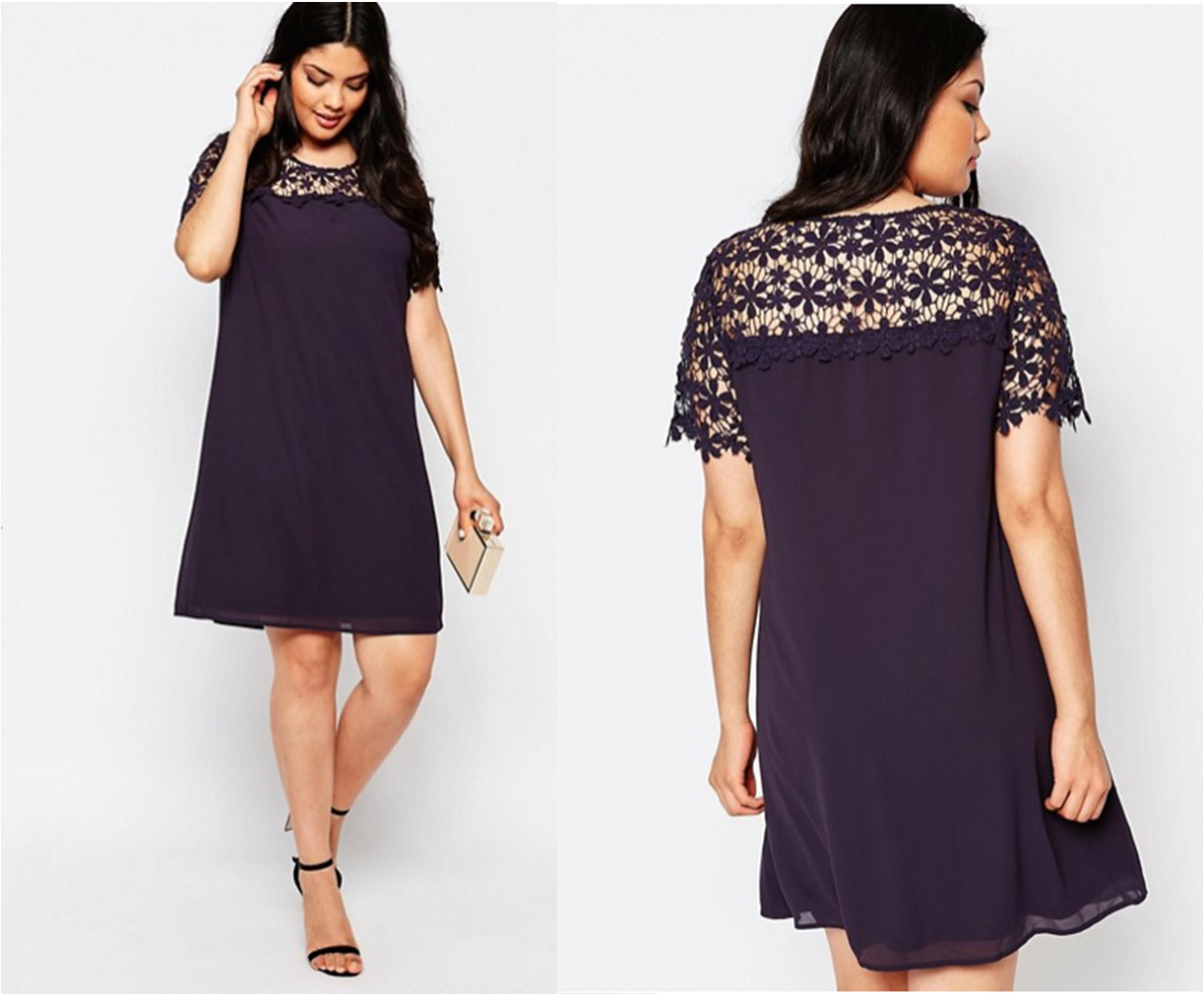 swing dress with lace yoke and sleeves detail
