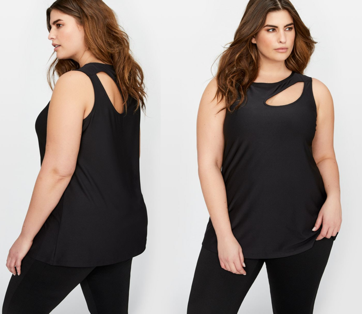 trendy sleeveless summer top: shirt-tail hem with front and back asymmetrical cut out