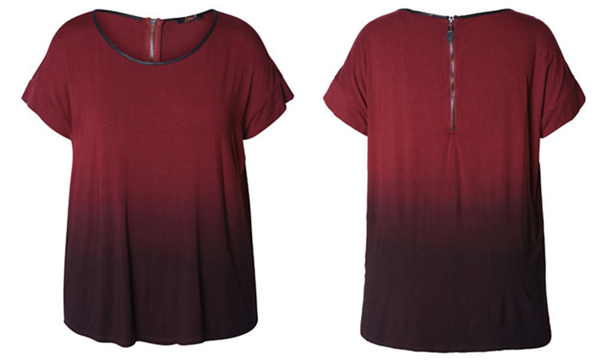 short sleeved viscose/spandex top with ombre effect