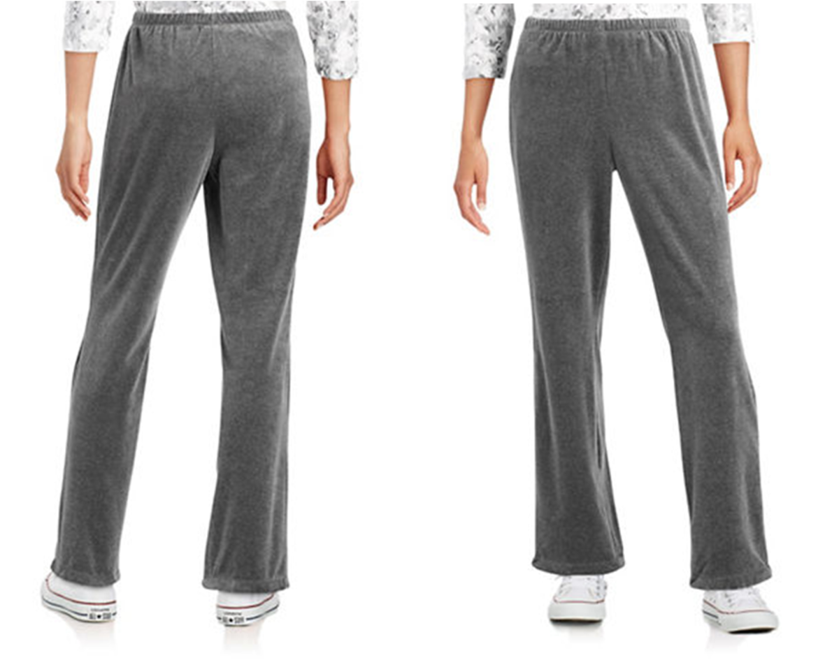 extremely comfy relaxed fit cotton-poly velour pants can be dressed up or down -- the thin elastic waistband won't fold over at waistline