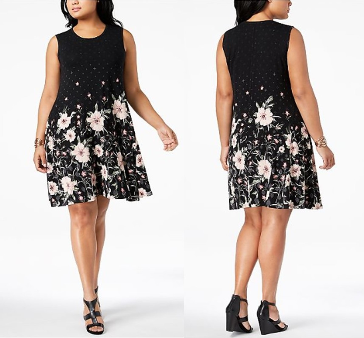 A-line swing dress with floral placement print