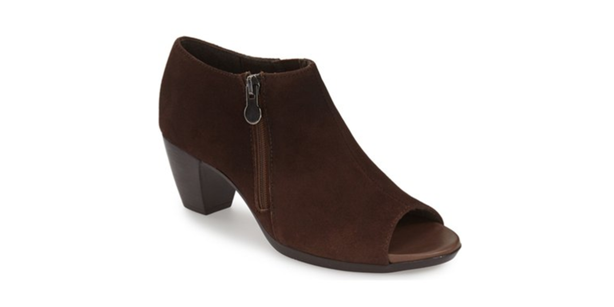 suede open toe bootie with 2 inch heel