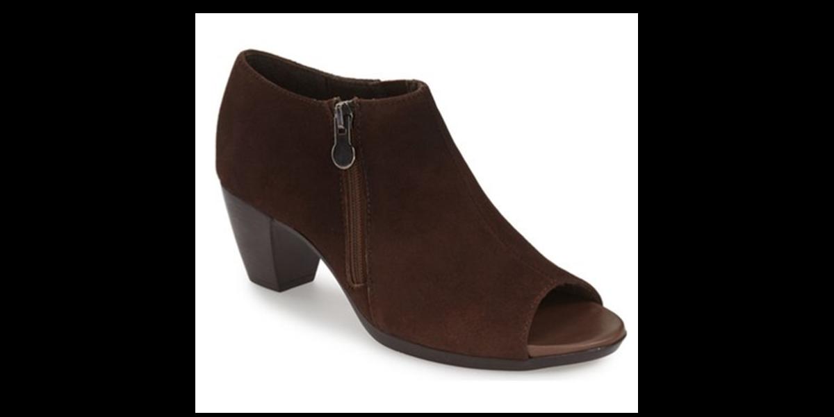 suede open toe bootie with 2 inch heel