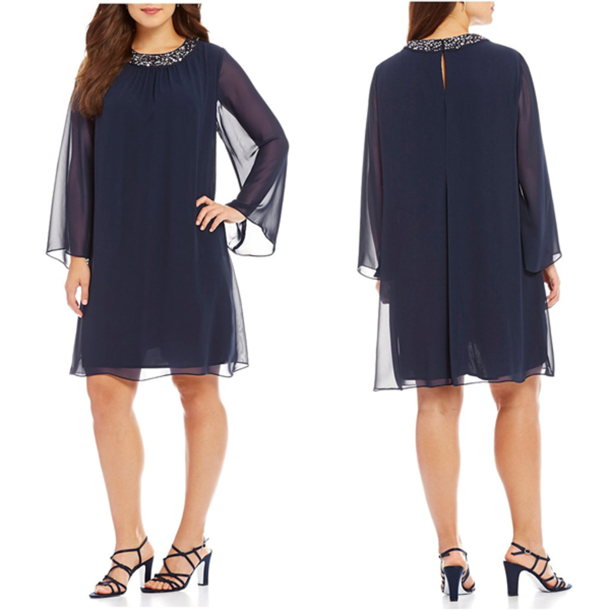jewel neckline chiffon dress: trapeze silhouette, long sleeves