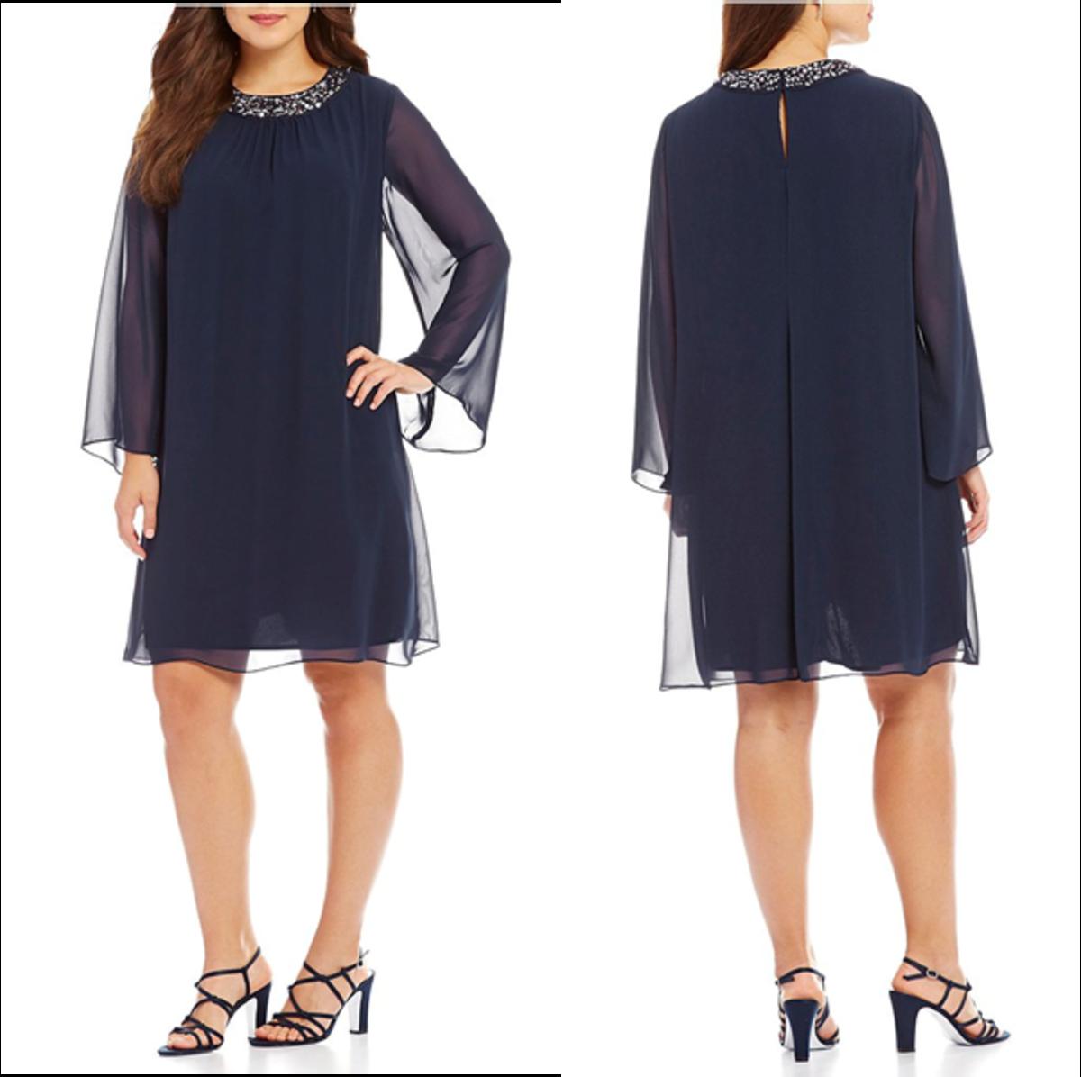 jewel neckline chiffon dress: trapeze silhouette, long sleeves