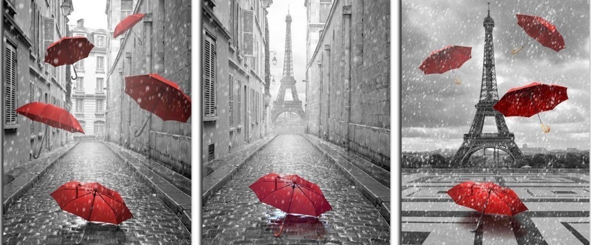 3 Panels Modern Giclee Canvas Prints Paris Black and White with Eiffel Tower Red Umbrellas Flying Wall Art Landscape Wall Decor Paintings on Canvas