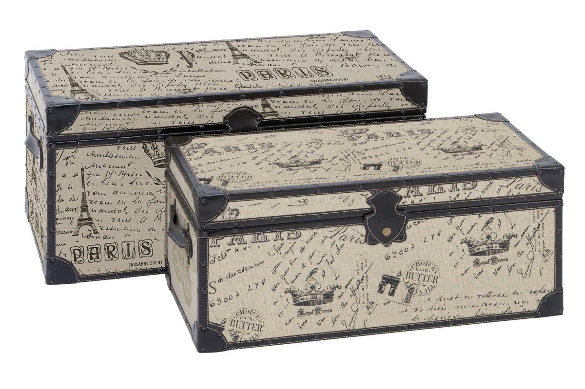 Paris Script Rectangular Burlap Trunk - Set of 2