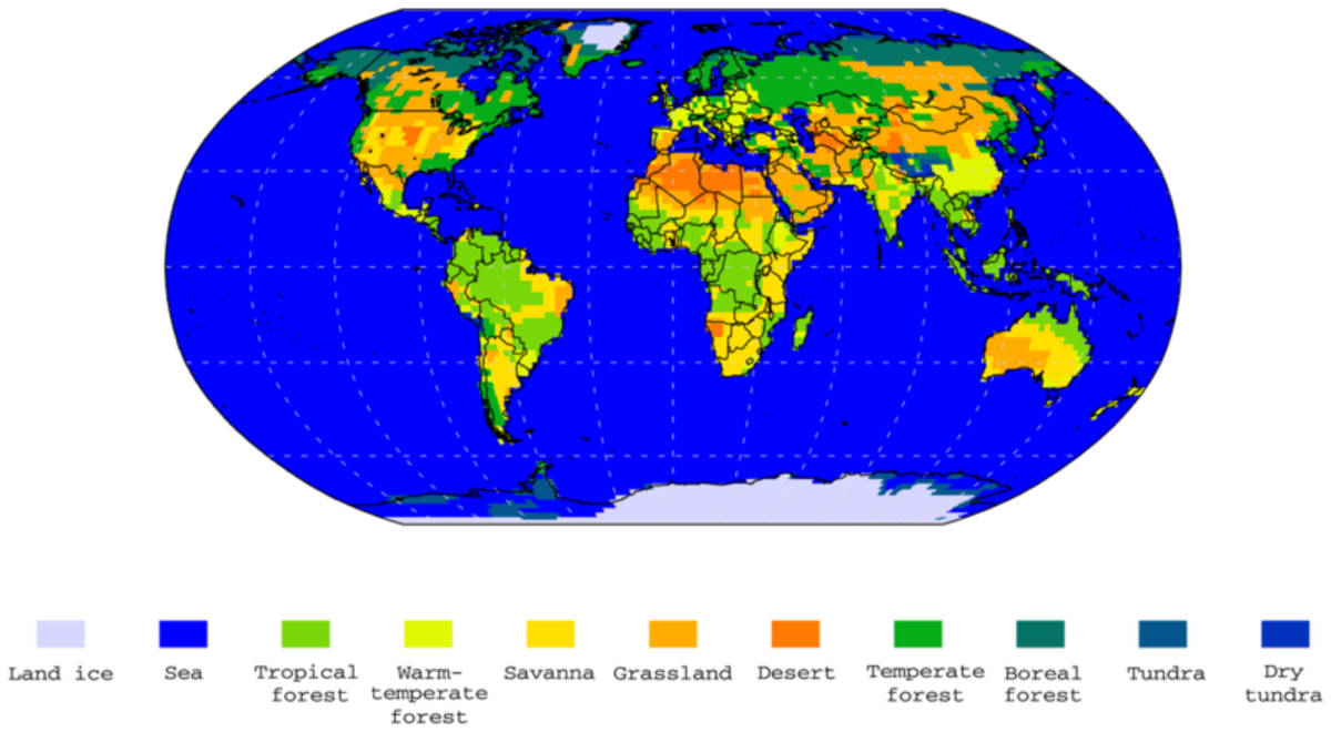 This map shows the position of the continents and the distribution of habitats during the pliocene.