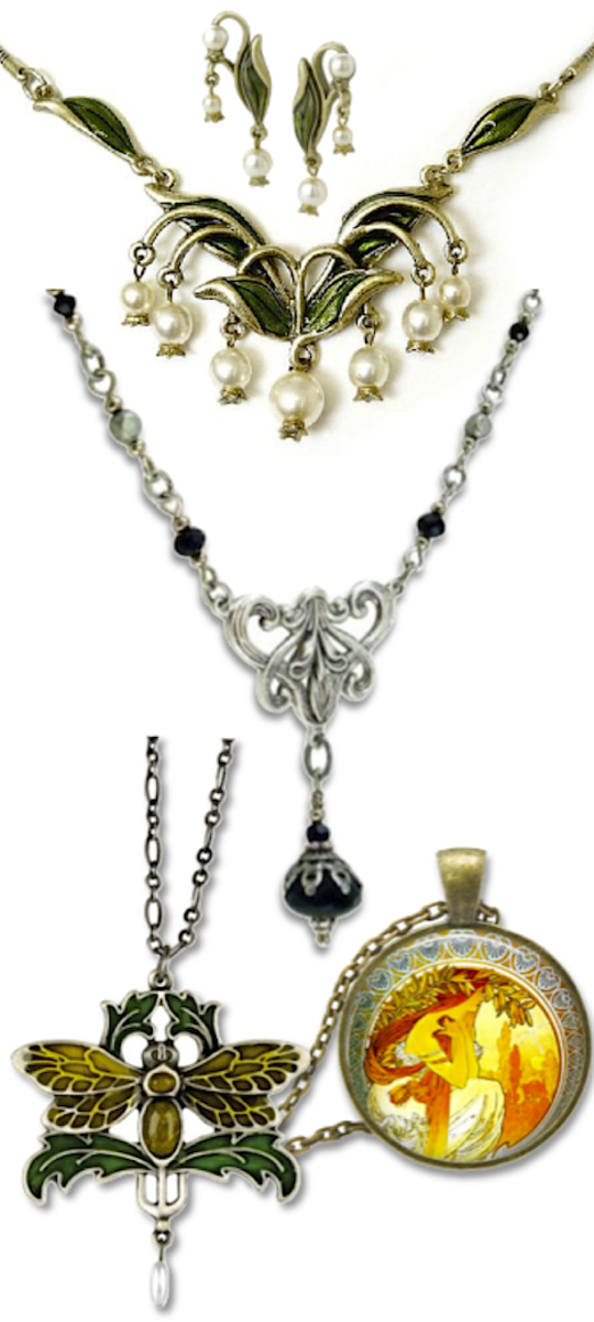 Sweet Romance Hand Enameled Lily of the Valley Necklace (earrings sold separately), Cloud Cap Art Nouveau Necklace w/ Black Glass Beads, Summit Fashion Jewelry Moth Pendant and Chain; and Shakespeare's Sisters Mucha Poetry Necklace.