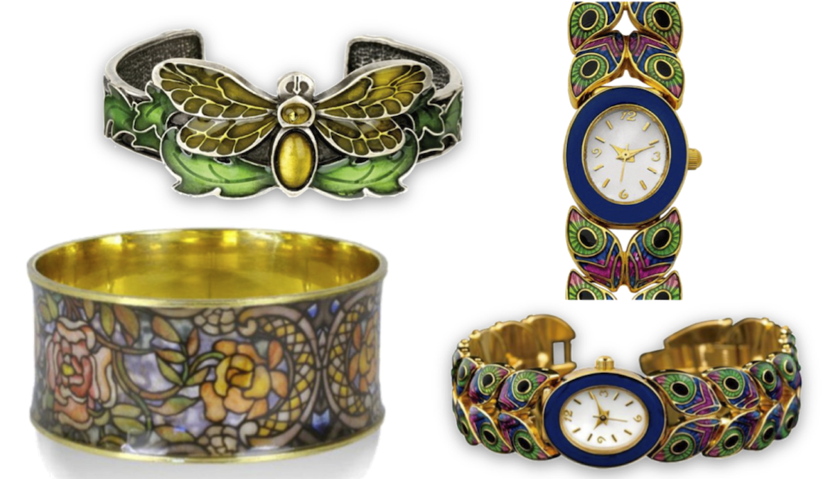 Above: Art Nouveau Style Enameled Moth Bangle Bracelet, Museum Licensed Gold Plated Louis Comfort Tiffany Art Nouveau Rose Window Bangle Bracelet, Metropolitan Museum of Art Peacock Feather Enamel Art Nouveau Bracelet Watch. All available at