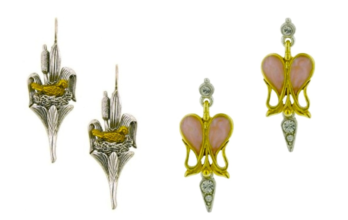 Art Nouveau Inspired Earrings from the Antiquities Couture Colletion. Left: Nesting Bird in Bullrushes Earrings. Right: Ornate Pink Enameled Goldtone Heart with Silvertone Accents set with Crystals. (Matching brooch also available.)