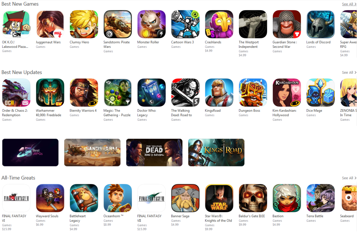 If you are ever interested in browsing RPGs on iTunes, there is an entire section dedicated to it.