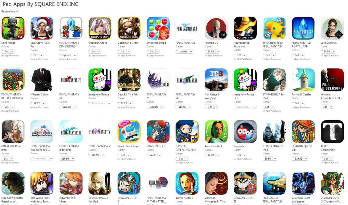 Games available on the iPad made by Square-Enix.