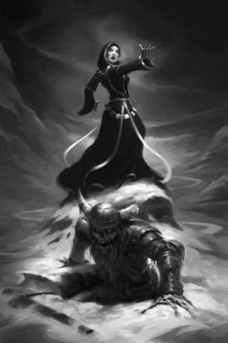 Skuld the witch brings the dead warriors back to life...