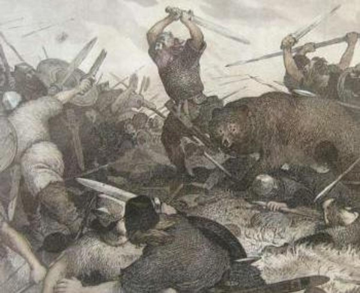 Hrolf Kraki's last battle - against half-sister Skuld and her sorcery. Bodvar Bjarki is beside the king in his bear shape, until wakened by Hjalti. Then Skuld's power strengthens