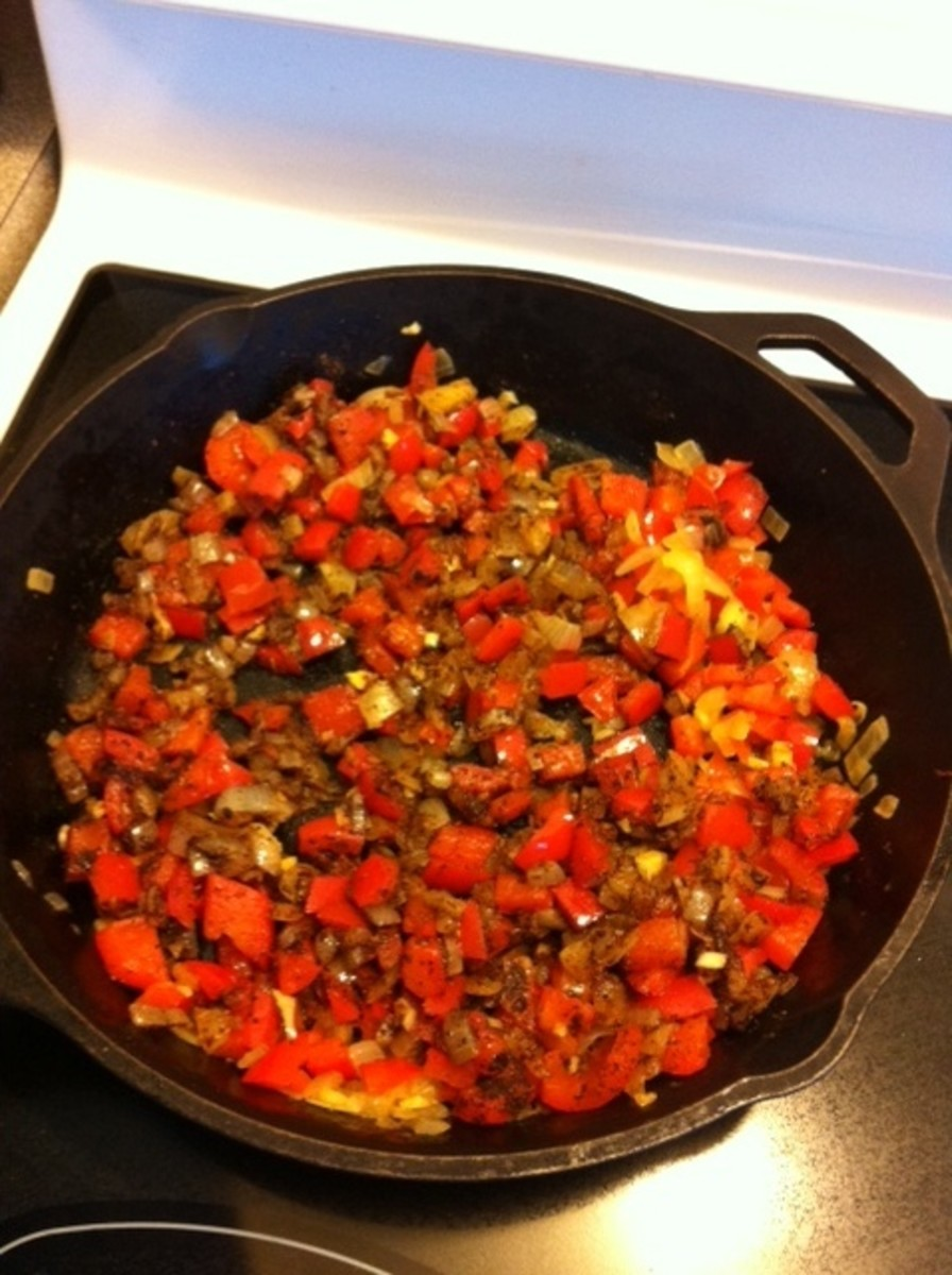 Add cumin and chili powder to the fry pan to wake up the spices.