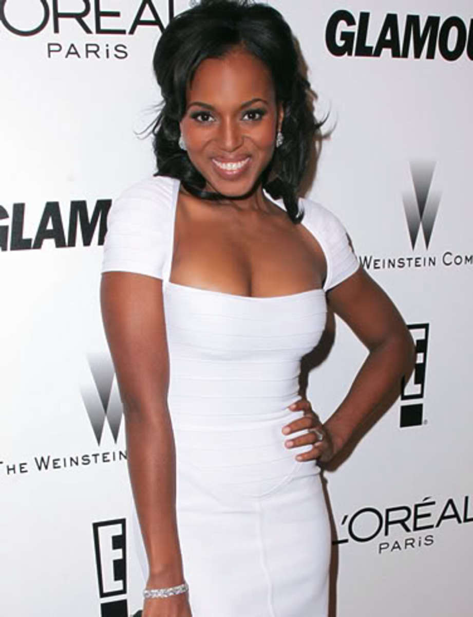 Kerry Washington Beautiful in a White Dress Stars in Scandal TV Series