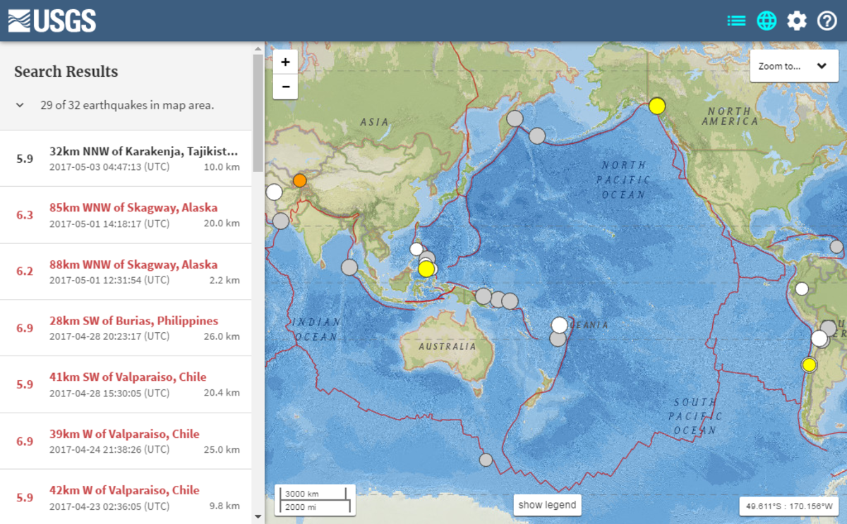 25 Global Links Related to Earthquakes databases maps