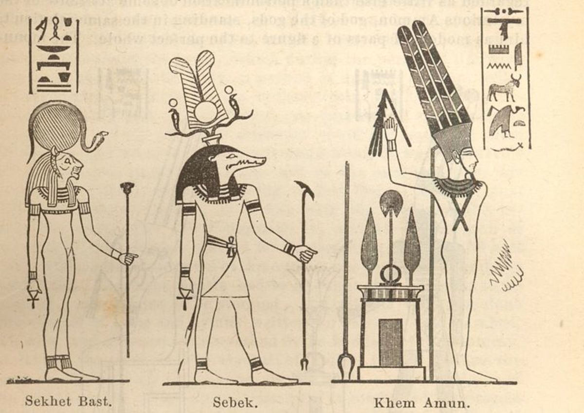 Ancient Egyptian gods Sekhet Bast, Sobek (Sebek) and Khem Amun.
