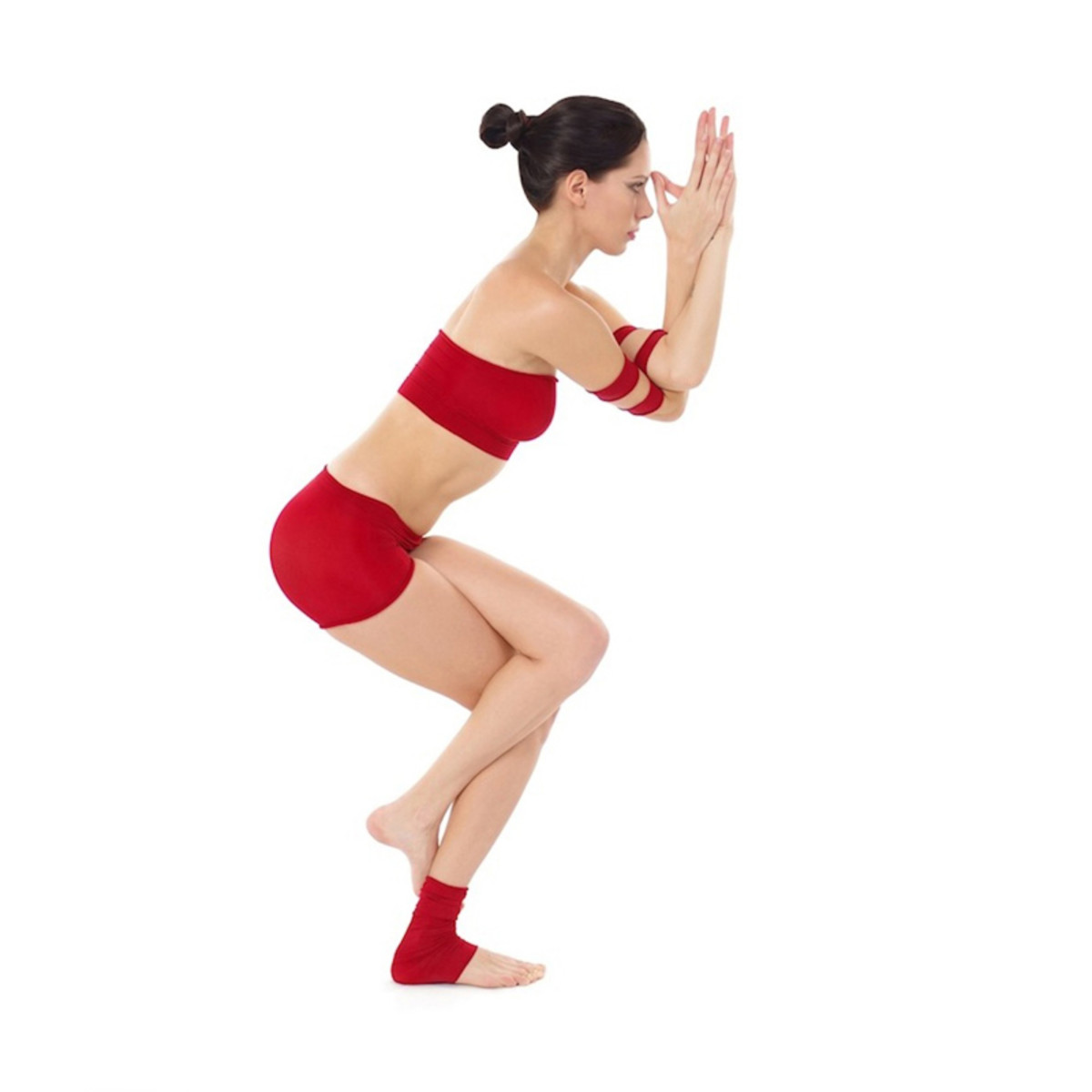 Eagle yoga pose or Garudasana is beneficial for the shoulders, upper arms and legs.