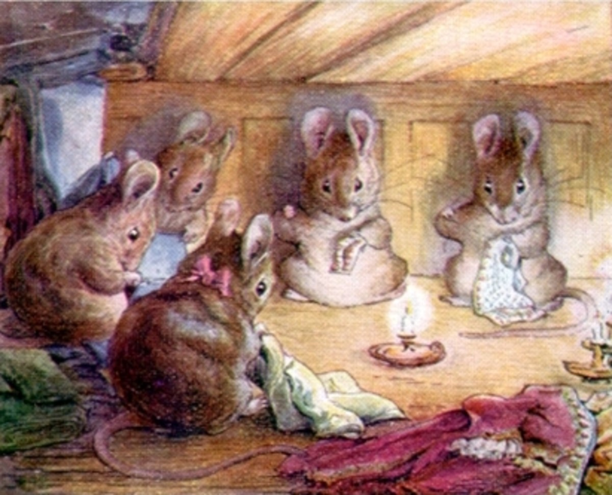 Mice sewing, illustration from The Tailor of Gloucester 1903