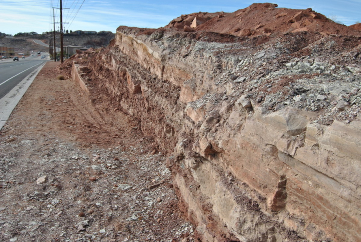 This road cut is the site of the latest dinosaur track discovery across the street from the Johnson Farm dinosaur track museum.