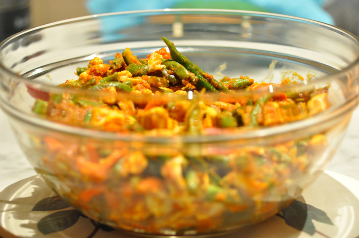 Blanched vegetables mixed with spice paste Image: © Siu Ling Hui