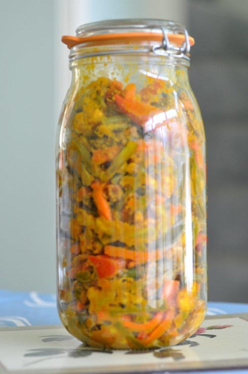 Acar Awak in sealed jar for storage in refrigerator Image: © Siu Ling Hui