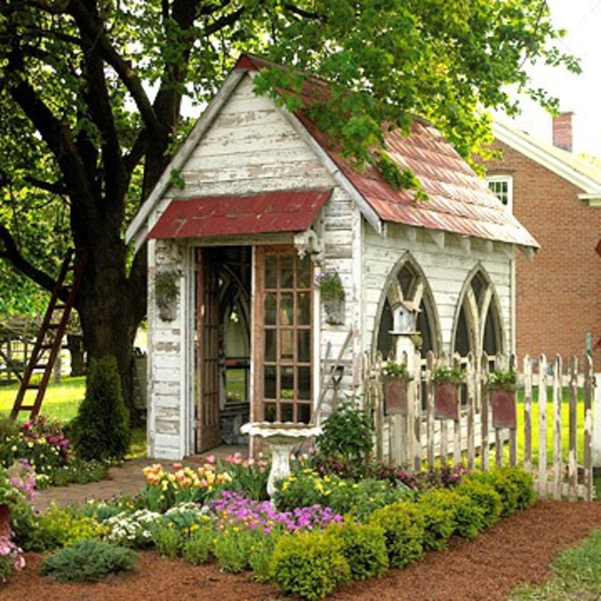 Story Book Garden Shed Resembling Church with Arched Windows
