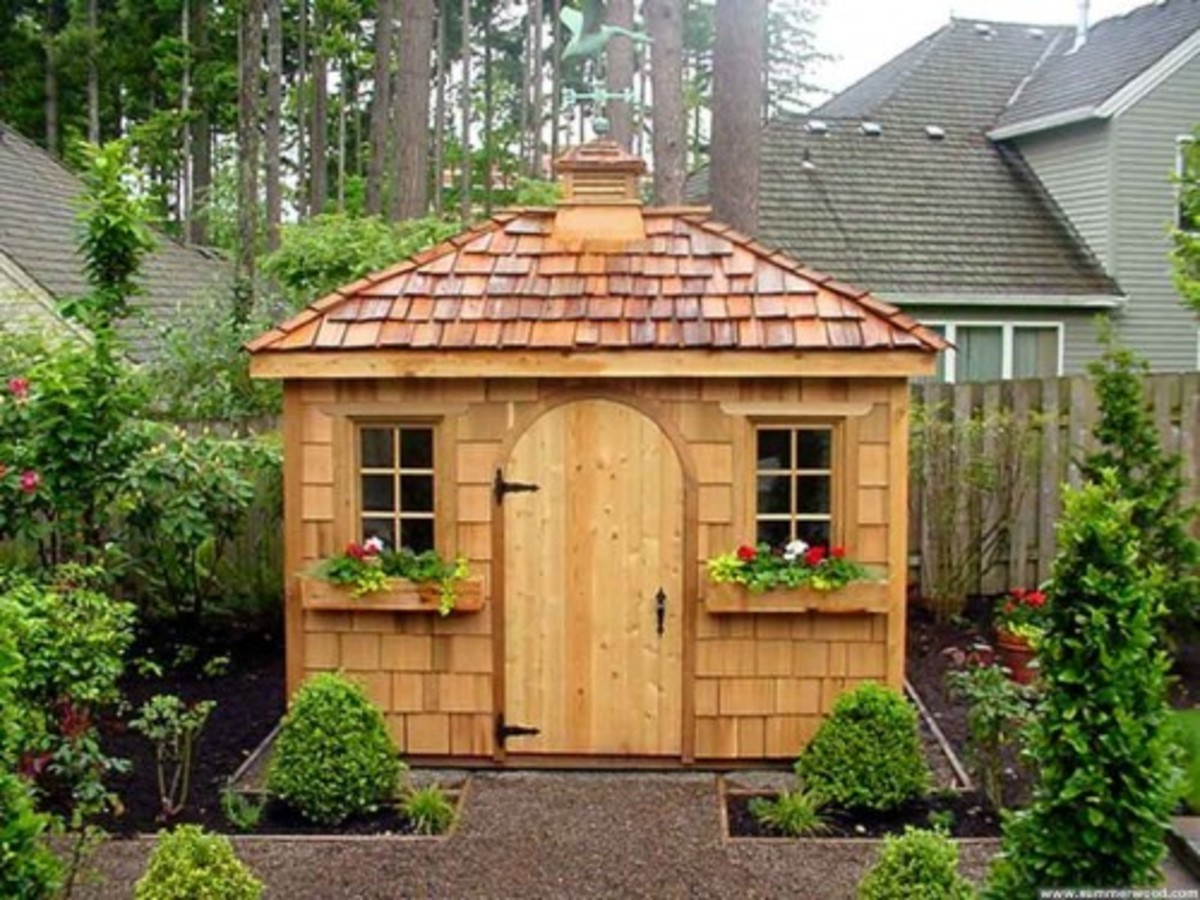beautiful wood garden shed with window boxes, natural wood cedar siding and roof and cupola