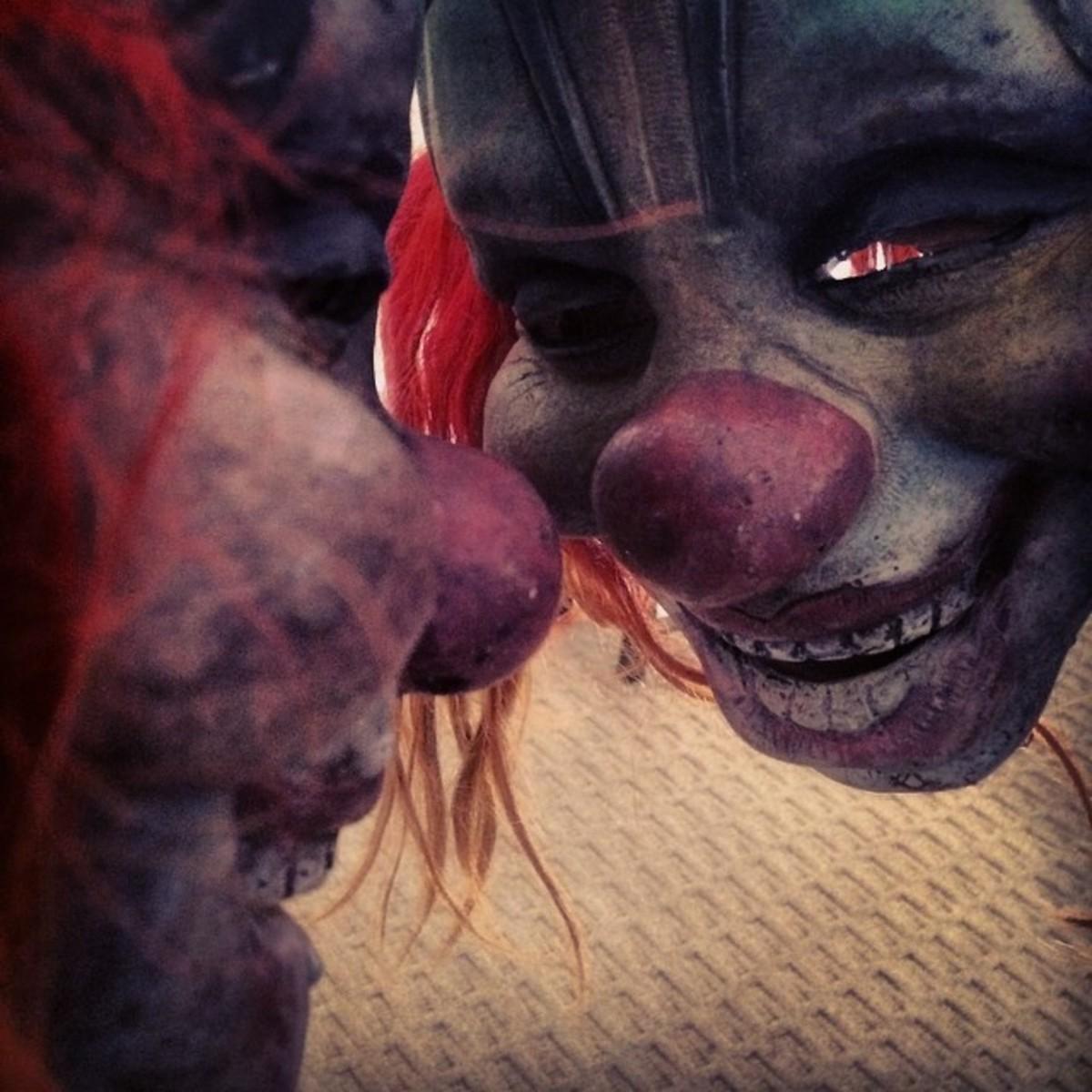 Creepy mirror shot of the Clown mask