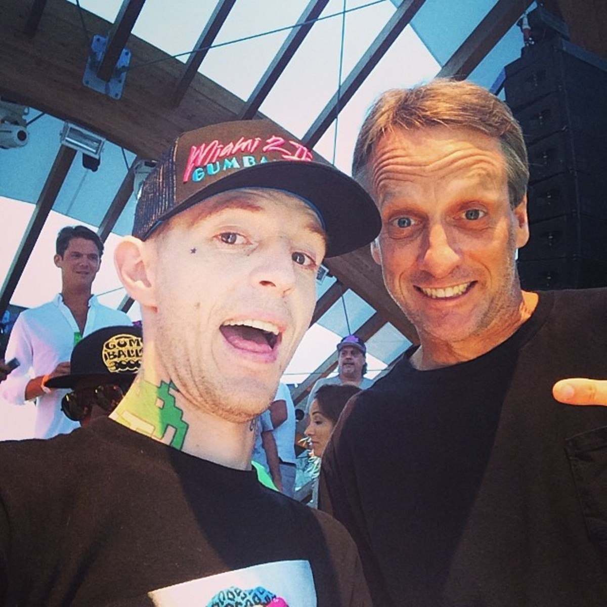 Deadmau5 with Skateboarding legend Tony Hawk