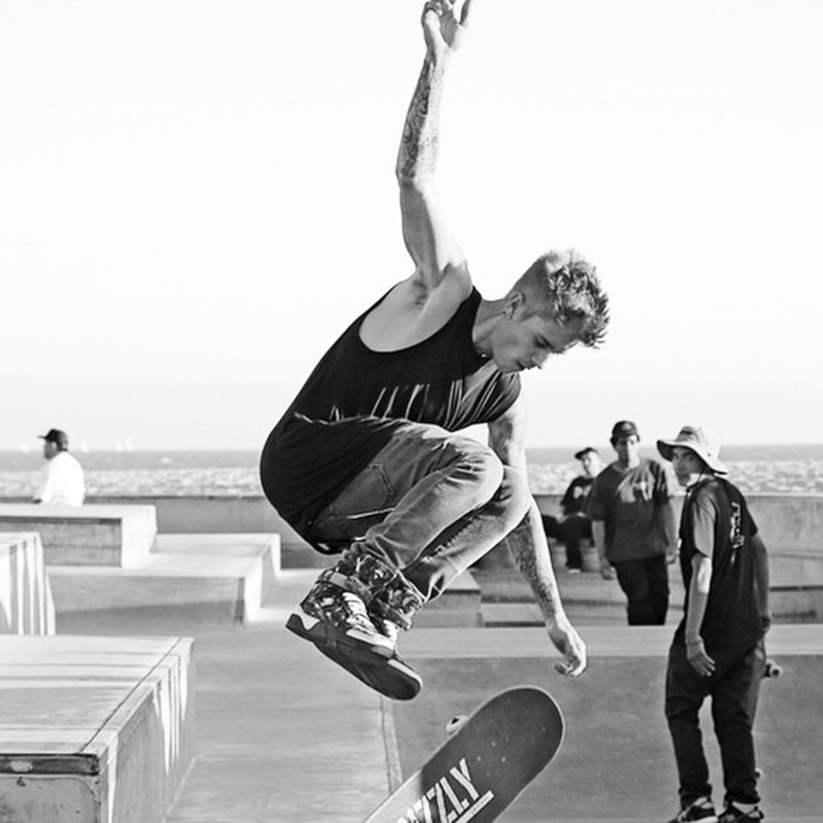 Biebs catching air off a skateboard