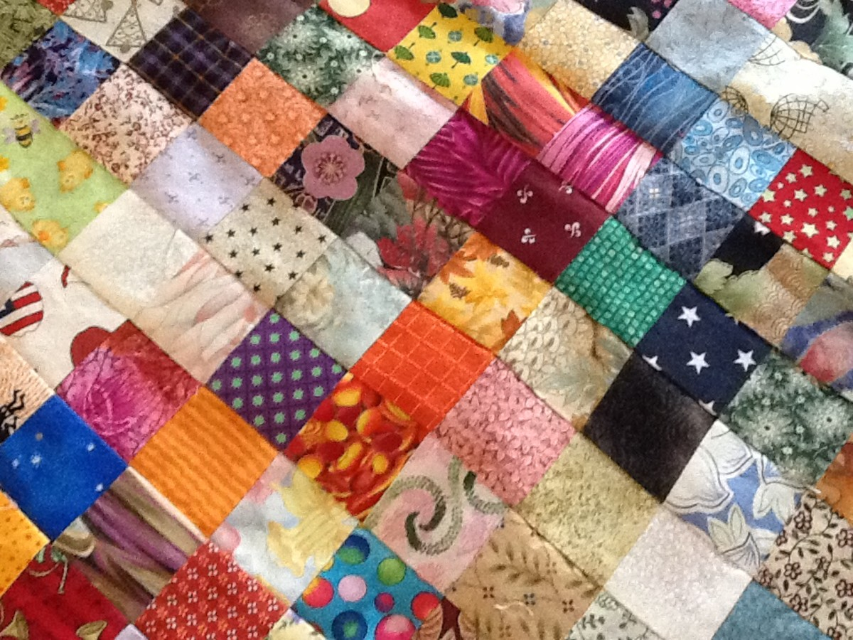 A scrappy Charm Quilt in progress