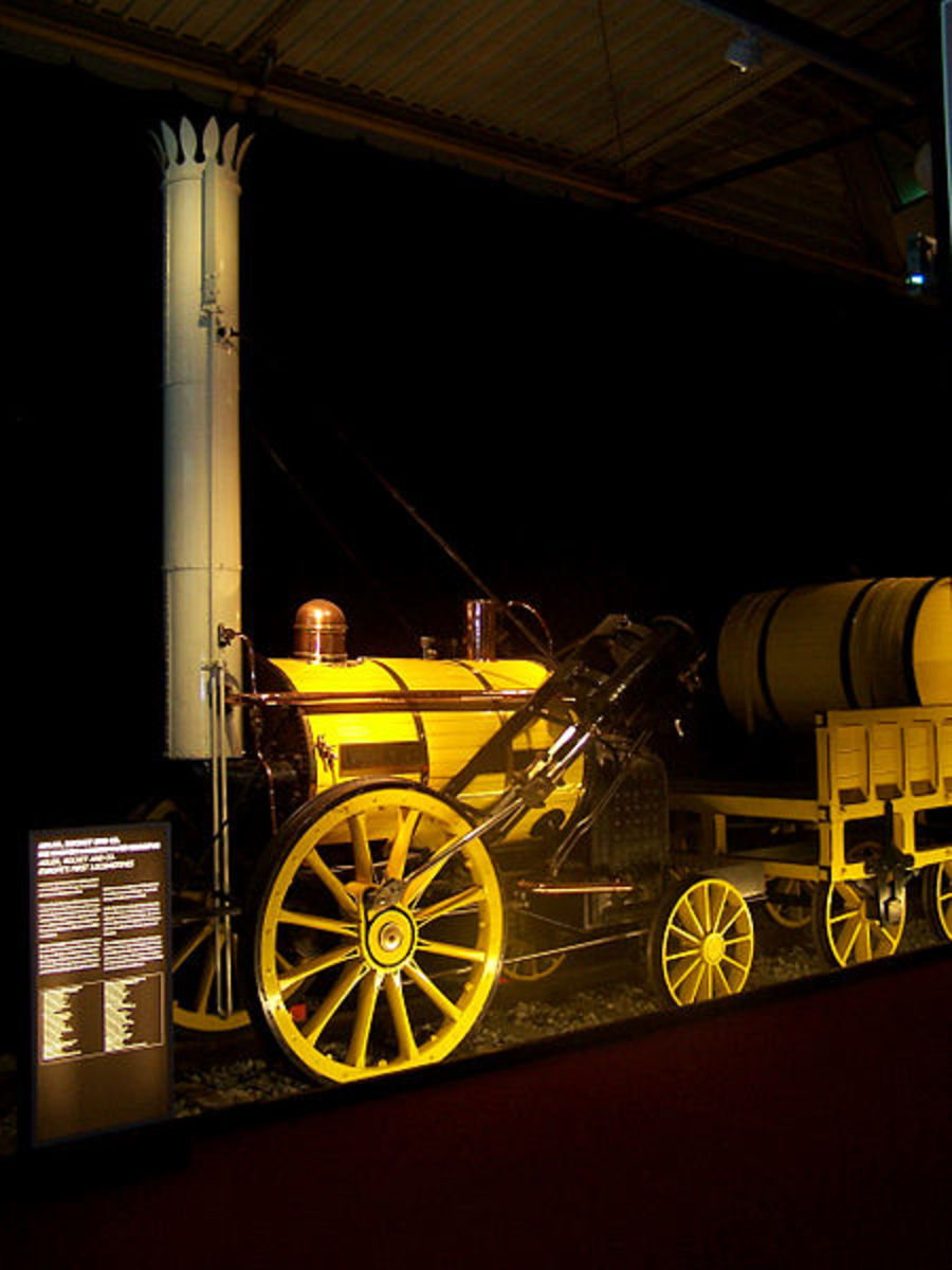 Stephenson's famous steam locomotive 'Rocket'.  This is a replica which is held ar Nuernberg Museum, Germany