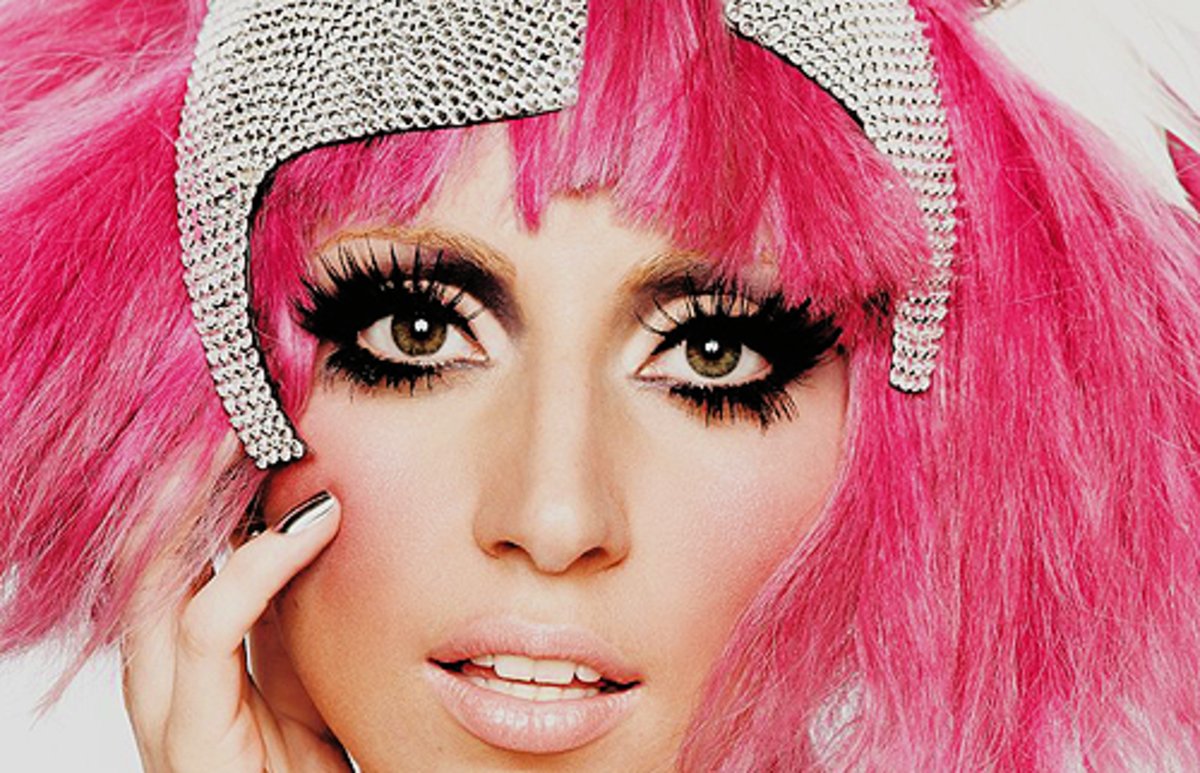 Lady Gaga with pink lipstick