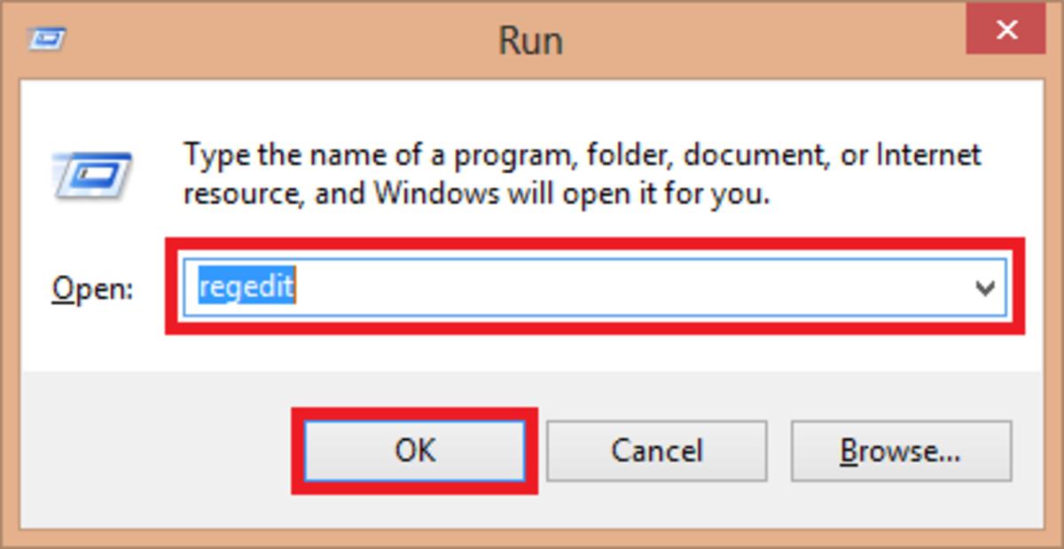 Entering into registration edit box through Run