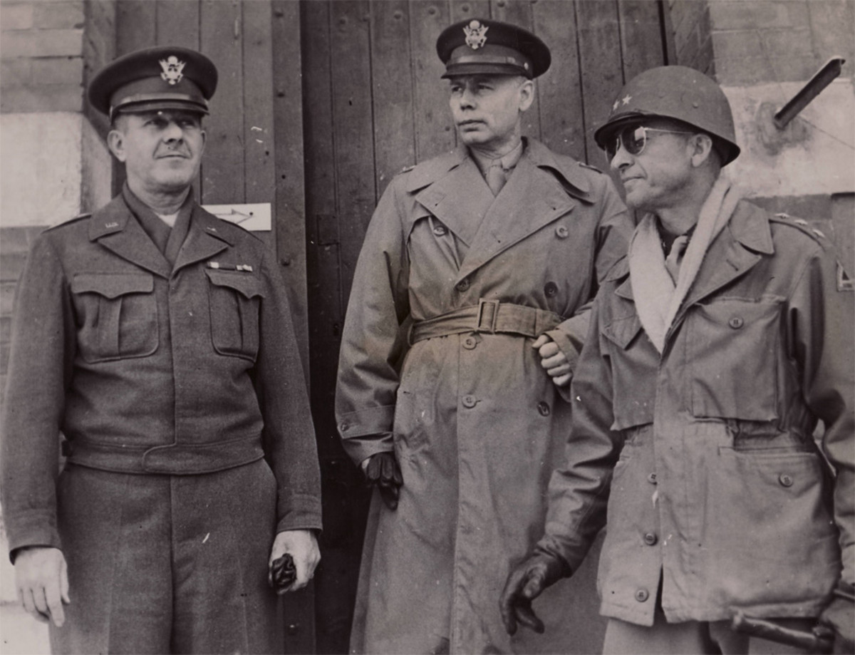 Devers (left) and Patch (right) with Ike's Deputy, General Walter Bedell Smith.