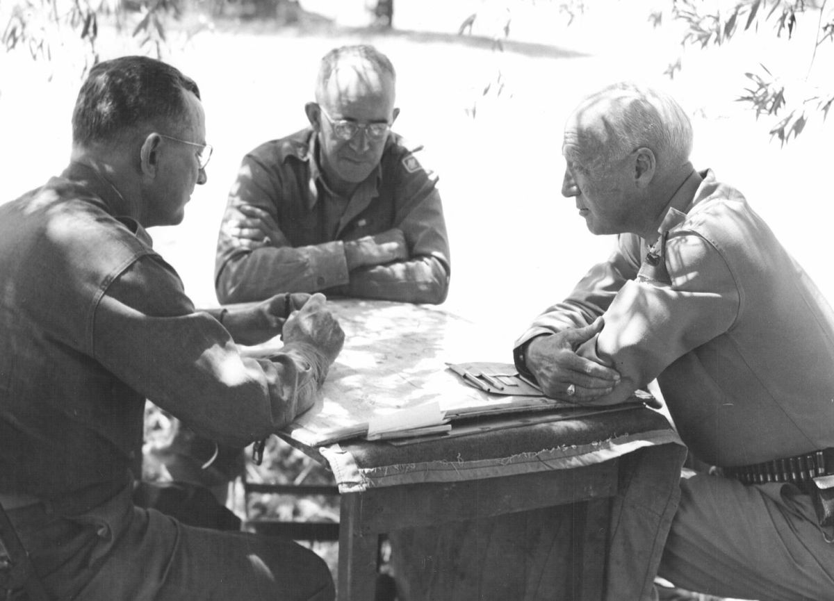 Middleton with Bradley and Patton in Sicily, 1943.