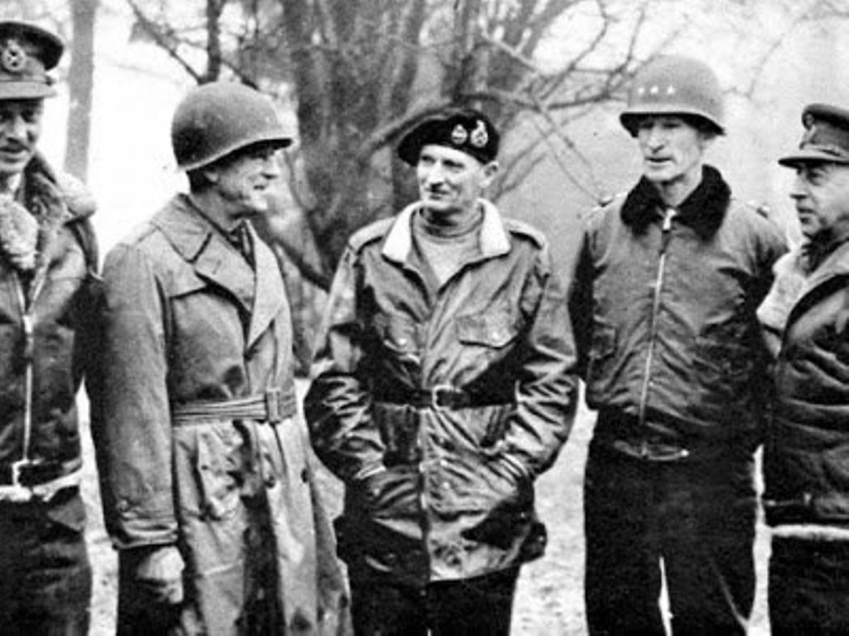 L-R: Gen. Miles Dempsey, Hodges, Gen. Montgomery, Gen. Simpson and Gen. Alexander. Simpson commanded the U.S. Ninth Army.