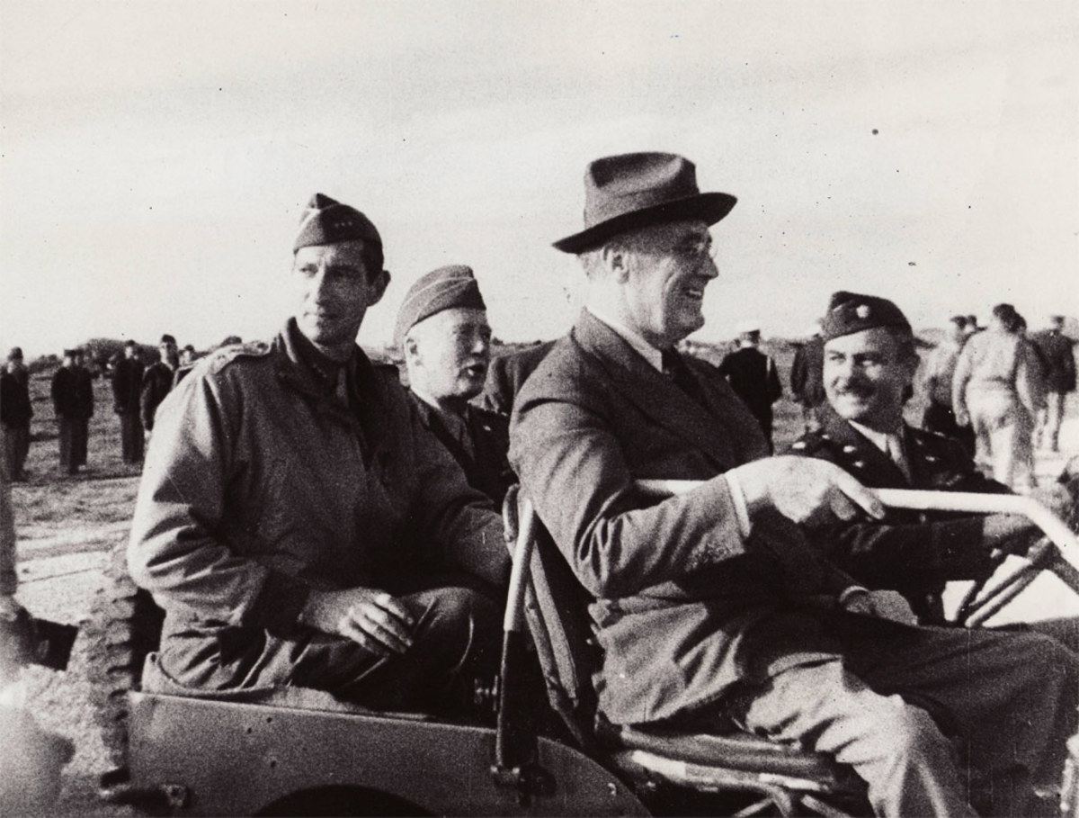 Clark riding with Patton and FDR after the North African Campaign.