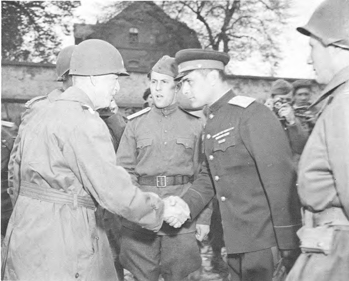 Gen. Hodges greeting the Russians near the Elbe.