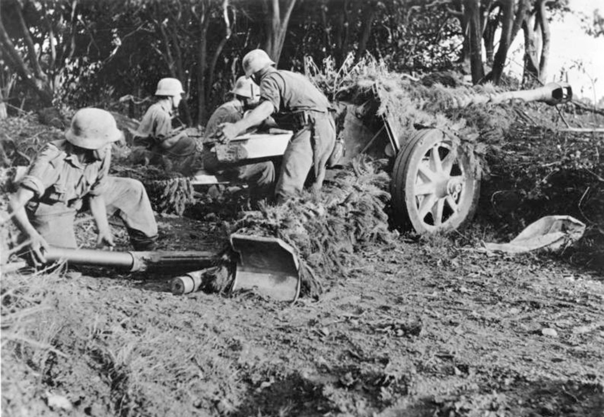 A German anti-tank crew in the hills above Salerno.