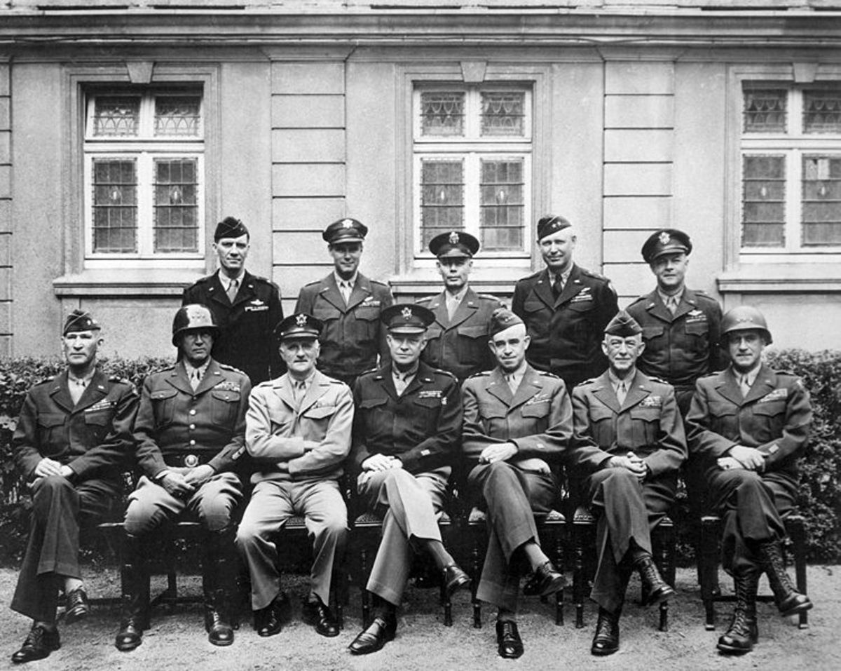 The Senior American Commanders in the ETO pictured at the end of the War. Gerow is in the first row, far right.