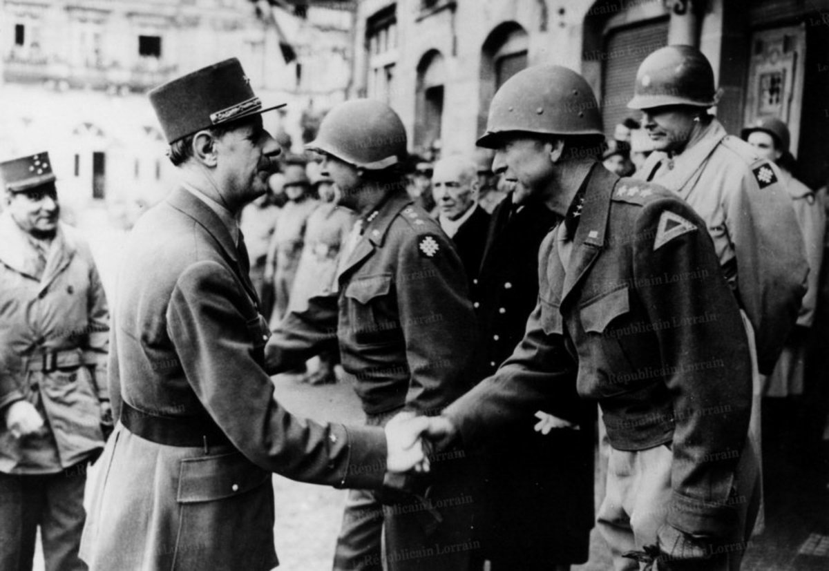 Gen. Patch meeting DeGaulle in 1944.