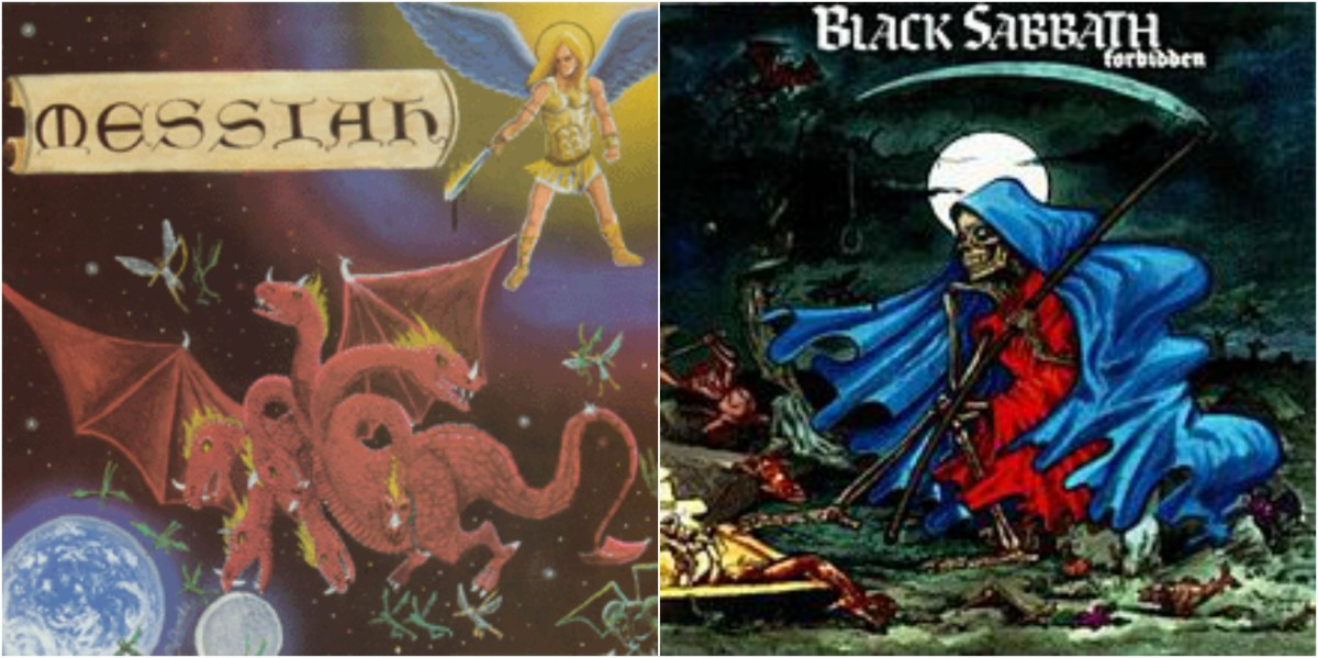 "Left: Messiah, ""Final Warning,"" right: Black Sabbath, ""Forbidden"""