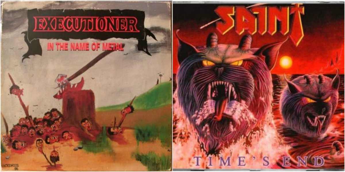 "Left: Executioner, ""In the Name of Metal,"" right: Saint, ""Time's End"""